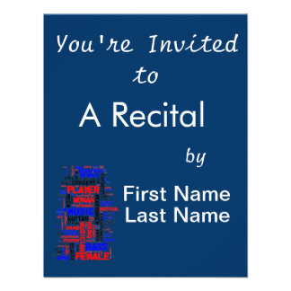 Female bass player wordle 1 red blue black personalized invitations