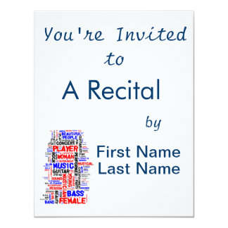 "Female bass player wordle 1 red blue black 4.25"" x 5.5"" invitation card"