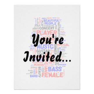 Female bass player wordle 1 red blue black custom invites
