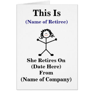 Female Big Sticklady Retirement Card Customize It!