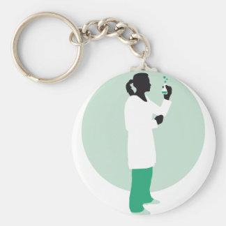 female biologist, chemist, physicist basic round button key ring