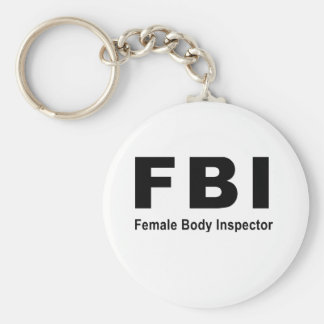 Female Body Inspector Basic Round Button Key Ring