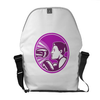 Female Boxer Punch Retro Courier Bags