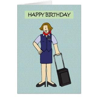 Female Cabin crew Birthday. Card