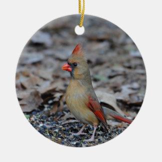 Female Cardinal 2 Round Ceramic Decoration