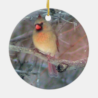 Female Cardinal Christmas Ornament