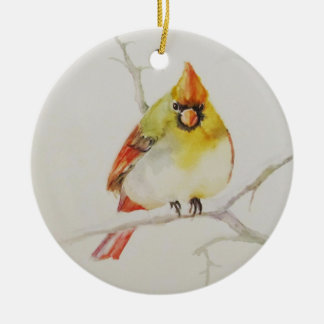 Female Cardinal Holiday Ornament
