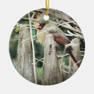 Female Cardinal on Wooden Fence Christmas Ornament