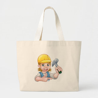 Female Carpenter Woman Cartoon Character Large Tote Bag