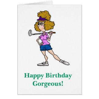 Female Cartoon Golfer Funny Birthday Card