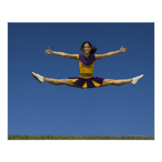 Female cheerleader doing jump splits in air 2 poster