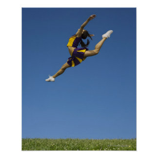 Female cheerleader leaping high up in air poster