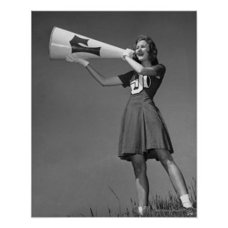Female cheerleader using megaphone poster