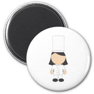 Female Chef 6 Cm Round Magnet