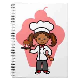 Female Chef Illustration Spiral Note Book