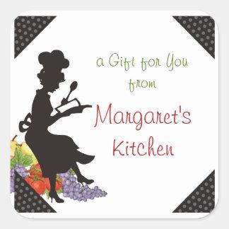 Female chef silhouette baking gift tag label square sticker