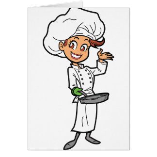Female Chef With A Frying Pan Greeting Cards
