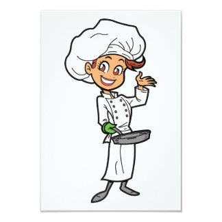 Female Chef With A Frying Pan Invitations