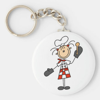 Female Chef with Oven Mitts Tshirts and Gifts Basic Round Button Key Ring
