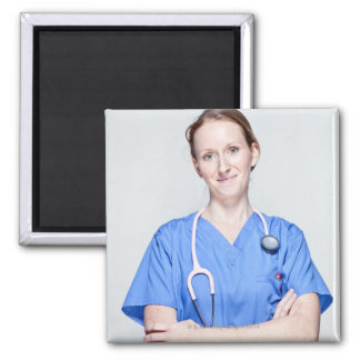 Female Doctor 2 Square Magnet