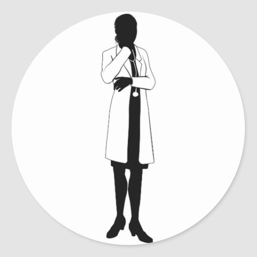 Female doctor silhouette round stickers