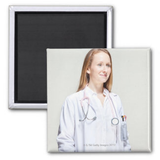 Female Doctor Square Magnet