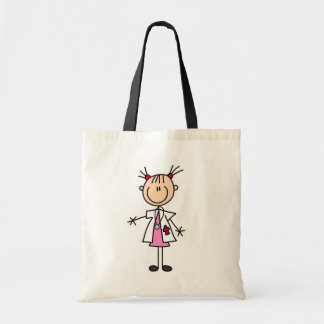 Female Doctor Stick Figure Budget Tote Bag