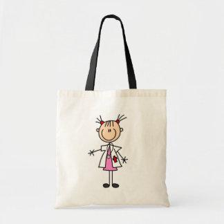 Female Doctor Stick Figure Budget Tote Bag