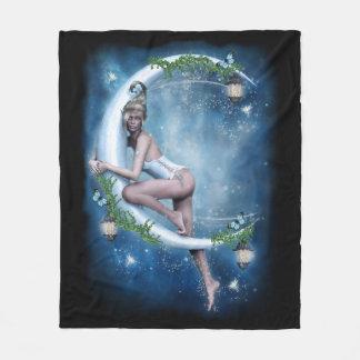 Female Elf Moon Fleece Blanket