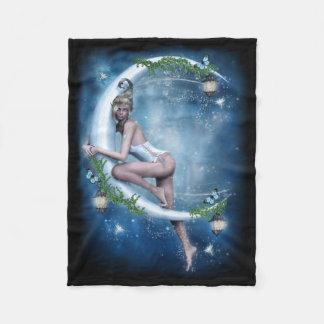 Female Elf Moon Small Fleece Blanket