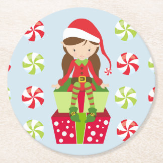 Female Elf with Candies Round Paper Coaster