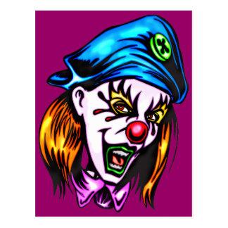 Female Evil Clown Postcard
