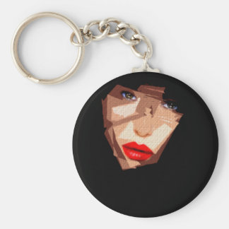 Female Expressions 592 Basic Round Button Key Ring