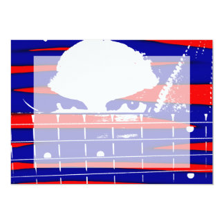 Female eyes over bass fretboard posterized 13 cm x 18 cm invitation card