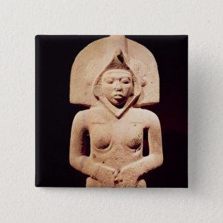 Female fertility figure, Huaztec 15 Cm Square Badge