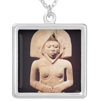 Female fertility figure, Huaztec Silver Plated Necklace
