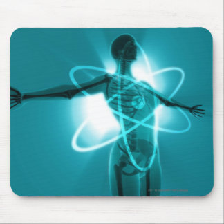 Female figure with an overlay of an atomic symbol mouse mat