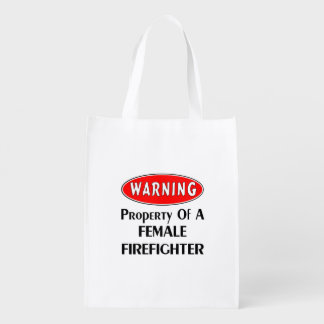 Female Firefighter Property Reusable Grocery Bags