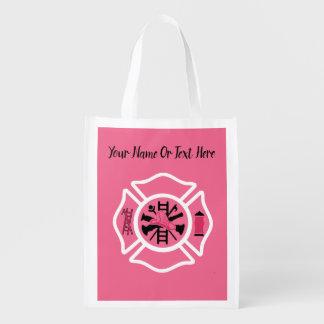 Female Firefighter Reusable Grocery Bag