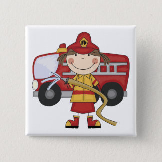 Female Firefighter T-shirts and Gifts 15 Cm Square Badge