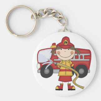 Female Firefighter T-shirts and Gifts Basic Round Button Key Ring