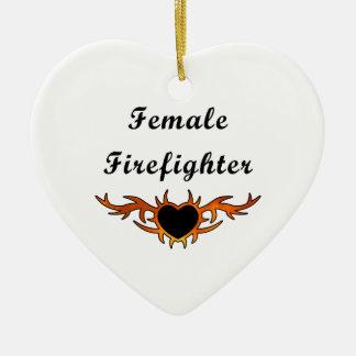 Female Firefighter Tattoo Ceramic Heart Decoration