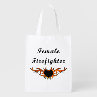 Female Firefighter Tattoo Reusable Grocery Bag