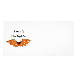 Female Firefighter Tattoos Personalized Photo Card