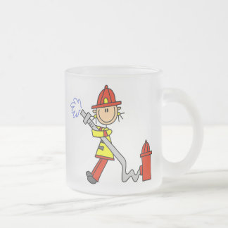 Female Firefighter With Hose T-shirts and Gifts Frosted Glass Coffee Mug