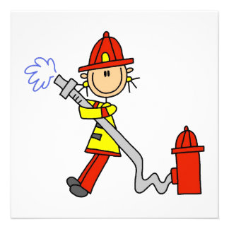 Female Firefighter With Hose T-shirts and Gifts Personalized Invitation