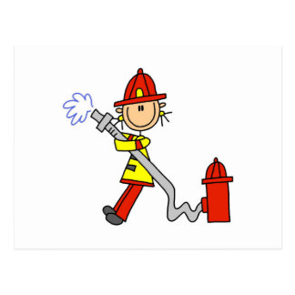 Female Firefighter With Hose T-shirts and Gifts Postcards