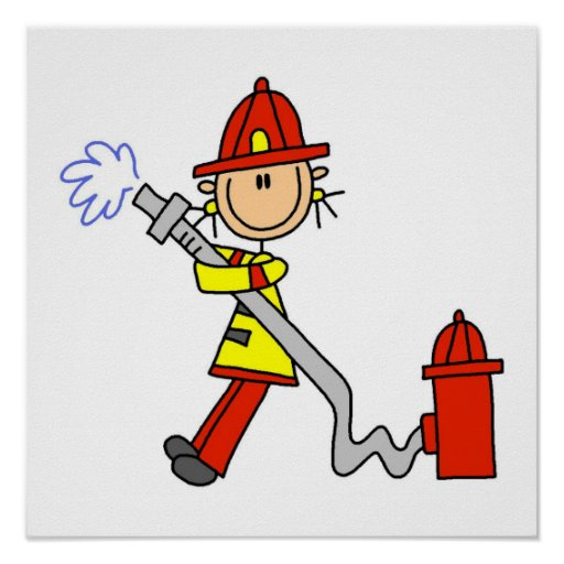 Female Firefighter With Hose T-shirts and Gifts Posters