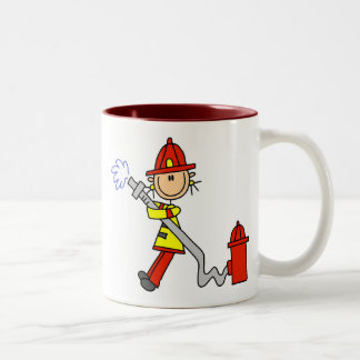 Female Firefighter With Hose T-shirts and Gifts Two-Tone Coffee Mug