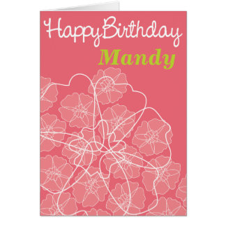Female floral pink birthday greetings card
